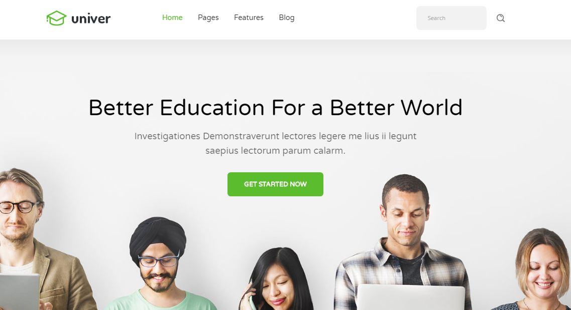 Mẫu website giáo dục - Univer