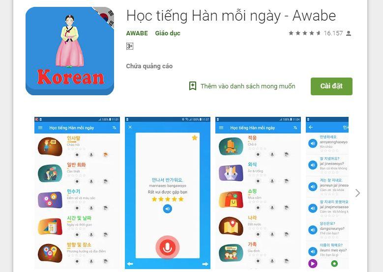 App học tiếng Hàn mỗi ngày - Awabe