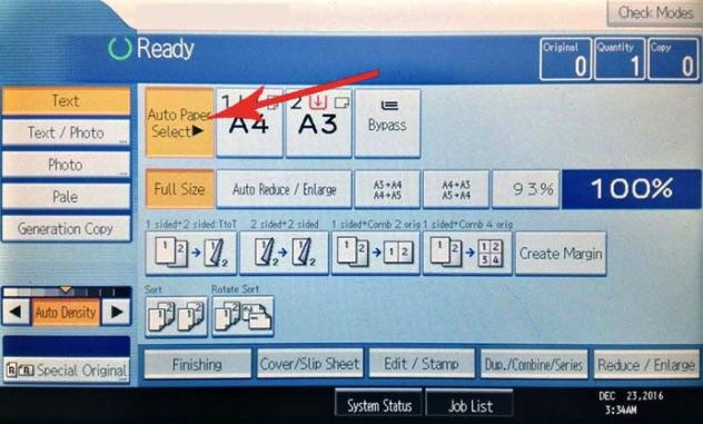 Bấm chọn lệnh Auto Paper Select